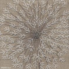 Dandelion Clock Detail, machine and hand embroidery by Jo Butcher
