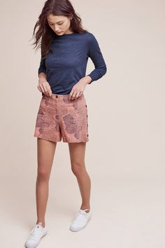 Slide View: 1: Buttoned High-Rise Shorts