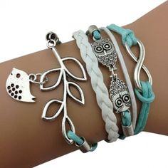 Light Blue Bird and Owl Arm Party Bracelet