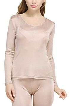 Fashion Silk Women's Thermal Underwear Sets Mulberry Silk Crewneck Stretch 2pc Base layer (Small, Beige). Supersoft, smoothly,absorbent,breathable of silk fabrics. Antistatic and inhibiting bacteria function of silk fabrics. take care of your body. Please choose the suitable size according to the size chart (in Product Description). Great to as a layer of warmth under your clothes,or wear alone at home. Hand wash ,keep out of the direct sun.