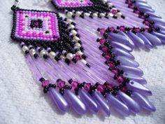 Brick stitch beaded Native American inspired earrings on Wanelo
