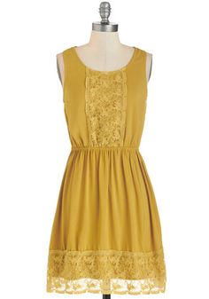 Sweet Thing Dress - Yellow, Solid, Lace, Casual, A-line, Sleeveless, Fall, Winter, Woven, Mid-length, Lace, Scoop