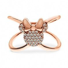 Minnie Mouse ''X'' Ring by Rebecca Hook - Rose Gold Disney Rings, Disney Jewelry, Cute Jewelry, Jewelry Rings, Jewelry Accessories, Jewellery, Fashion Accessories, Broches Disney, Colar Disney