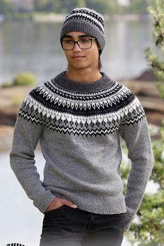 Dalvik sett med genser og lue by Drops Norwegian Knitting, Drops Design, Men Sweater, Crochet Hats, Beanie, Pullover, Wool, Sweaters, Fashion