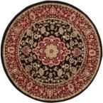 Barclay Medallion Kashan Black 7 ft. 10 in. x 7 ft. 10 in. Round Traditional Area Rug