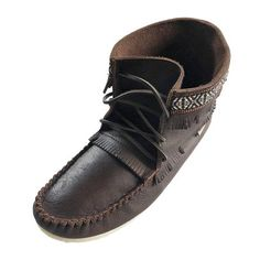 Mens Cork Brown Leather Moccasin Boots 137597M-FD