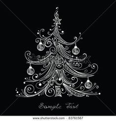 Black and white Christmas tree vector illustration