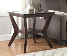 *paint white* Espresso Beveled Glass End Table at Big Lots for less. Find : selena 3 piece occasional table set - pezcame.com
