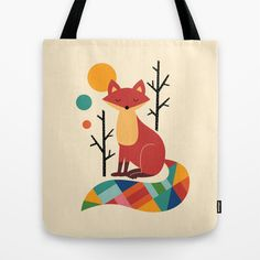Rainbow Fox Tote Bag by Andy Westface - $22.00