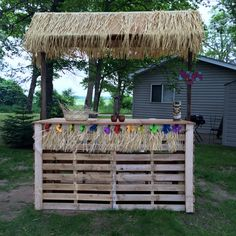 Tiki bars build your own and bar on pinterest for Building a tiki bar from pallets