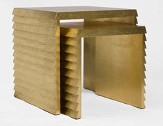 Jean-Michel Frank nesting tables INSPIRATION - use mdf and lines of trim on the sides Table Furniture, Home Furniture, Furniture Design, Furniture Ideas, Funky Furniture, Luxury Furniture, Gold Nesting Tables, Jean Michel, Minimalist Interior