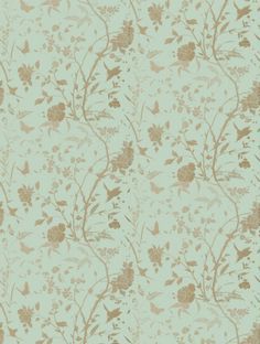 Liang Aqua with Metallic Gold, a feature wallpaper from Thibaut, featured in the Enchantment collection.