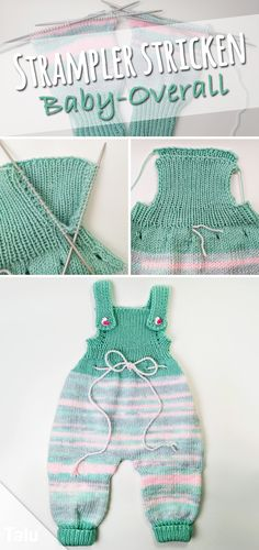 Instructions - Knit Romper - Baby Overall - Talu.de Anleitung – Strampler stricken – Baby-Overall – Talu.de Instructions – Knit Romper – Baby Overall – Talu. Baby Knitting Patterns, Free Knitting, Baby Patterns, Baby Hoodie, Baby Pullover, Baby Overalls, Baby Jumpsuit, Knitted Romper, Kids Fashion