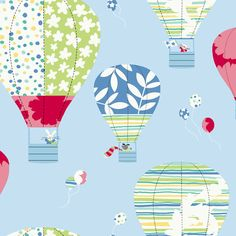 Hot Air Balloons Blue Prepasted Wallpaper - Wall Sticker Outlet