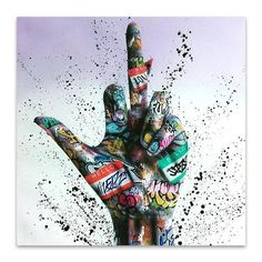 Gesture Victory Graffiti Art Canvas Painting Inspirational Posters and Prints On The Wall Art Picture For Living Room Decor - 40X40CM / QK8088-04
