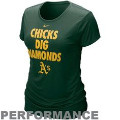 Nike Oakland Athletics Ladies Chicks Dig Diamonds Green Performance T-shirt