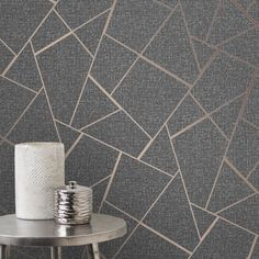 Add a stylish finishing touch to your home with Charcoal Grey and Copper Metallic Quartz Fractal Wallpaper, an abstract geometric pattern for feature walls. Gold Geometric Wallpaper, Bronze Wallpaper, Charcoal Wallpaper, Glitter Wallpaper, Vinyl Wallpaper, Textured Wallpaper, Wallpaper Roll, Bedroom Wallpaper, Kids Wallpaper