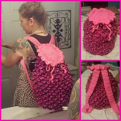 Crocodile stitch backpack I did! This was so much fun, I've made two of these things there beautiful. The pattern is free on ravelry search rainbow dragon back pack. I also added a liner in mine so it doesn't stretch out so bad.  ♡ #crochet #flowerchild