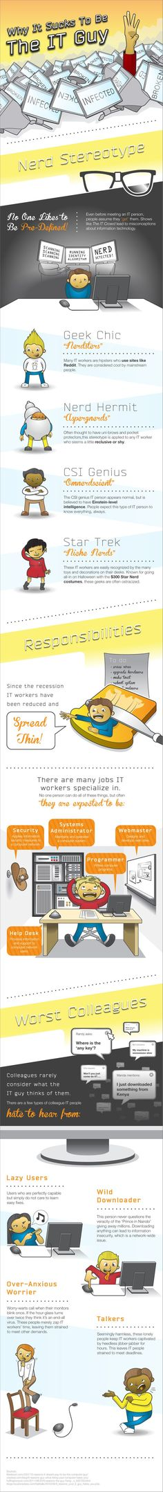 Tongue in cheek infographic - Why it sucks to be the IT guy Doomsday Prepping, Applied Science, Geek Humor, Job Humor, Information Graphics, Information Technology, Career Advice, New Technology, Fun Facts