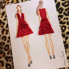 Processo de criação do Vestido Rose, criado exclusivamente pela nossa estilista Bruna Baraldi! #vestido #atelie #ateliechicboom #chic #brunabaraldi #estilista #modafesta #flores #tecido #vermelho #desenho #croqui