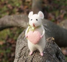 Cute mouse Needle felt mouse White mouse Needle felt by DemannaArt