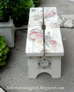 images transfered to the bench using the reverse mod-podge method