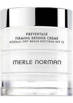 PREVENTAGE™ Firming Defense Creme Normal/Dry Broad Spectrum SPF 15  For Normal to Dry skin types.   An emollient daytime moisturizing cream that helps firm skin. This multi-tasking cream also protects skin from environmental stressors with an anti-pollution complex and helps prevent the premature signs of aging with Vitamins C and E. Broad Spectrum SPF 15 helps prevent sunburn and decreases the risk of skin cancer and early signs of aging caused by the sun. Fragrance-free. Oil-free. Non-comedo