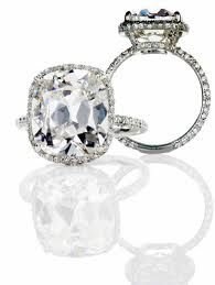 Lorraine Schwartz cushion-cut diamond set in micro pave halo