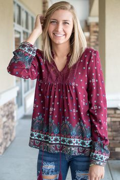 Burgundy print boho top with lace detail on the chest and tie neckline, cute top for fall to pair with jeans and booties
