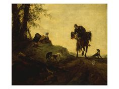 Landscape with a Horseman on a Roadside Greeting Two Ladies Seated on a Hill by Philips Wouwermans Or Wouwerman. Giclee print from Art.com.