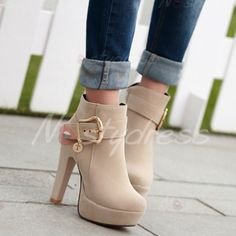75c74295a4d Trendy Chunky Heel and Metallic Buckle Design Women s Suede Boots