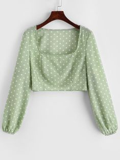 Blouses For Women Sexy Blouse, Crop Blouse, Blouse Outfit, Cute Blouses, Blouses For Women, Winter Tops, Green Blouse, Daily Fashion, Style Fashion