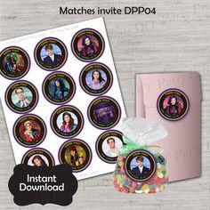 Descendatns Treat Bag Label,Descendants Label,Descendants Label,JPG file,Favor Tag,Mal,Evie,Carlos,Jay,DPP04