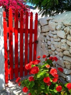 Cheerful red gate and flowers