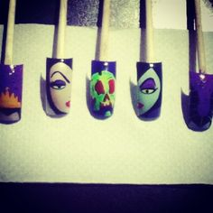 Nail art from the NAILS Magazine Nail Art Gallery, hand-painted, Disney Inspired Nails, Disney Nails, Frozen Nails, Secret Nails, Super Cute Nails, Halloween Nail Art, Cute Nail Designs, Nail Art Galleries, Disney Villains