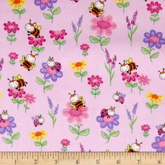 Comfy  Flannel Bugs & Flowers Pink from @fabricdotcom  This double napped (brushed on both sides) flannel is perfect for quilting and apparel. Colors include pink, purple, yellow, orange, white, and black.