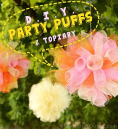 DIY Party Puffs & Topiary with Deco Mesh = Summer Party Decor! : Party Ideas by Mardi Gras Outlet