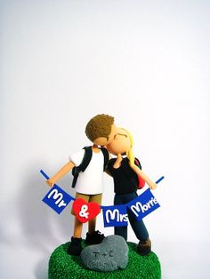 Avid hikers customized wedding cake topper
