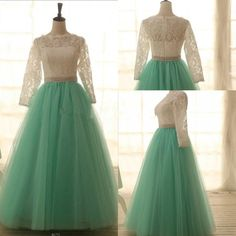 Gorgeous Handmade Lace and Mint Tulle Ball Gown Prom Dresses 2015, Formal Gown, Evening Dresses, Prom Gown
