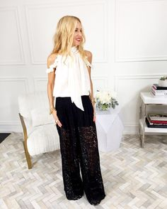 A peek behind the scenes with Rachel Zoe, wearing our Nashua blouse and Kimmi lace pants—styling videos coming soon!