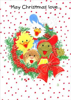 Suzy's Zoo - Wreath Christmas Card by Paper Magic Merry Christmas And Happy New Year, Christmas Love, Christmas Wreaths, Christmas Cards, Christmas Wishes, Paper Magic, Cute Messages, Christmas Clipart, Cute Images