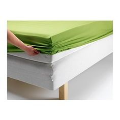 DVALA Fitted sheet, bright green - Twin - IKEA