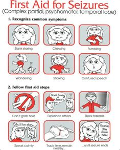 First aid for complex partial, psychomotor, and temporal lobe seizures. (Bex note: if seizures lasts more than 5 minutes, call Epilepsy Symptoms, Epilepsy Seizure, Seizure Symptoms, Epilepsy Facts, Epilepsy First Aid, Temporal Lobe Epilepsy, Nursing Tips, Nursing Notes, School Nurse Office