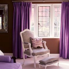 Simplified Bee®: Interior Design Color Trends for 2010 - Purple Home Interior, Interior Design, Modern Interior, Purple Bedroom Decor, Purple Bedrooms, Girls Room Curtains, Purple Curtains, Curtains Living, Color Palettes
