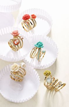 Ariella Collection Floral & Cameo Stack Rings (Set of 5) (Nordstrom Exclusive) | Nordstrom