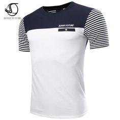 Brand Fashion Men T Shirt Cotton Short Sleeved Casual T-Shirt striped Men's clothing swag tops tees