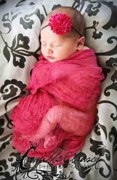 Photography Cheesecloth Prop...Cheesecloth and Wrap Set...Baby Wrap...Newborn Prop...Baby Girl Headband...Baby Bows. $12.00, via Etsy.