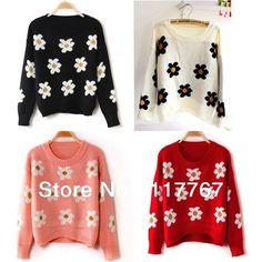 $13.27 1PC Fashion 2013 New Women's Knitted Pullover Flowers Pattern Casual Crochet Loose Autumn Sweater Knitwear Free Shipping 652997