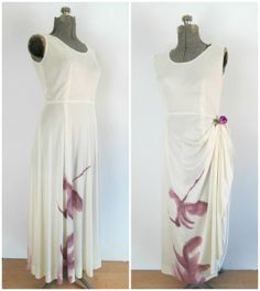 Hand Painted Hyacinthe Maxi Dress Vintage by rileybellavintage, $60.00