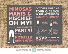 Bachelorette or Hen Party Invitation- Printable File- Digital Invite- Grey and Pink Invite